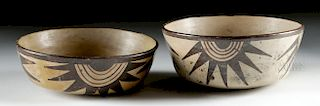 Nazca Cream-Slipped Pottery Bowls (Matched Pair)
