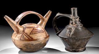 Lot of 2 Sican / Lambayeque Pottery Stirrup Jars