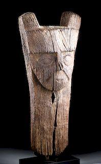 Tall Huari Wood Pillar Top w/ Abstract Human Face