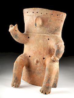 Quimbaya Pottery Slab Figure, Seated Male
