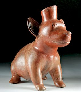 Large Colima Redware Seated Dog Vessel