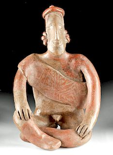 Fine Jalisco Burnished Pottery Seated Male Figure