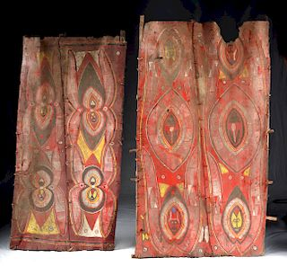 20th C. Papua New Guinea Bark Paintings (pr)