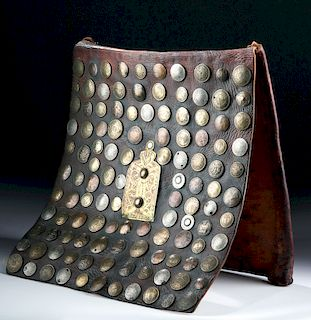 20th C. Moroccan Water Seller's Leather Bag with Coins
