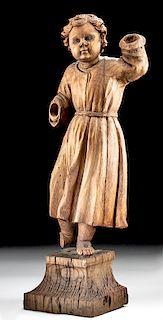 17th C. German Carved Oak Figure of a Boy