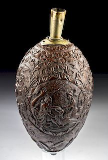 19th C. British Sailor Carved Coconut Powder Flask