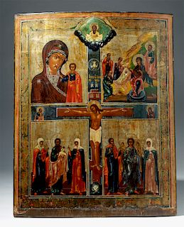 Large 19th C. Russian Icon - Crucifixion of Christ
