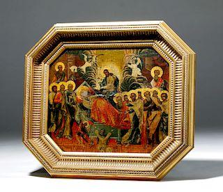 19th C. Russian Icon - Dormition of the Virgin