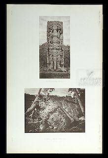 Alfred Maudslay B&W Maya Ruins Photogravure - 1890