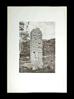 "Rare Alfred Maudslay 1890 Photogravure Maya Stela ""A"""