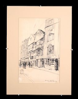 Vernon Howe Bailey Ink Drawing of London, 1901