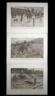 3 Remington Prints, 1903 - Oo-Yah!, Last Shot, At Last