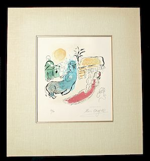 Signed Chagall Lithograph - Maternity & Centaur, 1957