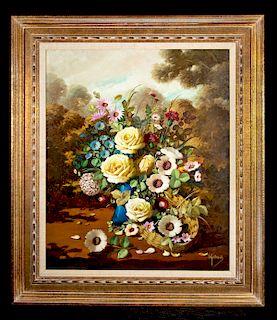 Framed Mid 20th C. I. Guibert Amor Still Life Painting
