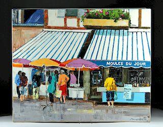 Signed Mortier Painting - La Vente Des Moules - 2010