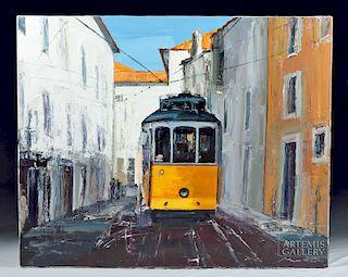 """Mortier Oil Painting """"Le Tram de Lisbonne"""" 2010"""