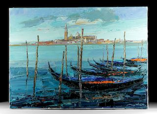 Signed G. Mortier Painting - Gondolas in Venice - 2010