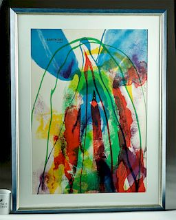 Signed Framed Paul Jenkins Lithograph - Earth Day 1971