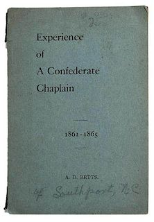 Experience of A Confederate Chaplain 1861-1864