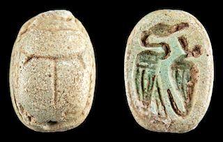 Egyptian Glazed Faience Scarab w/ Birds