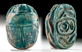 Egyptian Faience Scarab Thutmose III, ex-Mitry