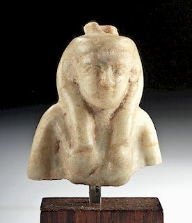 Egyptian Late Dynastic / Ptolemaic Calcite Bust of Isis