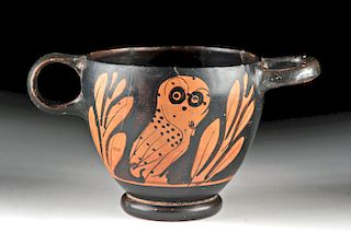 Greek Attic Red-Figure Owl Skyphos - Glaux Type