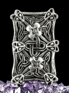 8th C. Viking Silver Brooch w/ Wolf Heads
