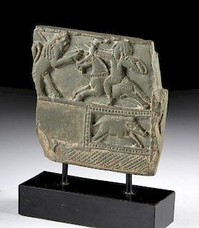 Urartian Stone Panel, Hunter and Boar in Relief