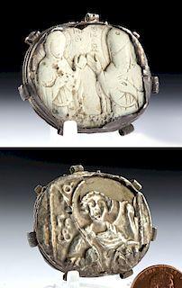 5th C. Byzantine Steatite Pendant w/ Silver Frame