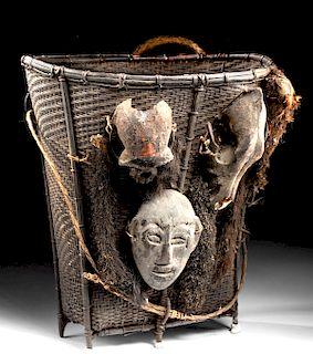 Early 20th C. Naga Rattan Basket - Monkey & Boar Skulls