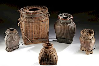 Five 20th C. Indonesian Lombok Wood & Reed Creels