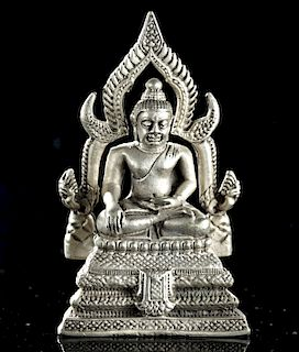 Early 20th C. Thai Silvered Brass Seated Buddha