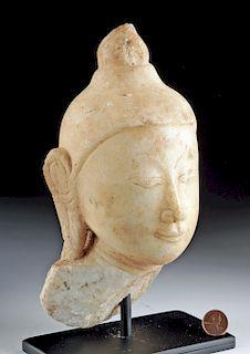 18th C. Burmese Marble Buddha Head Fragment