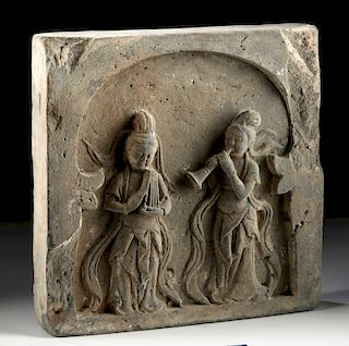 Chinese Tang Dynasty Terracotta Plaque w/ Musicians