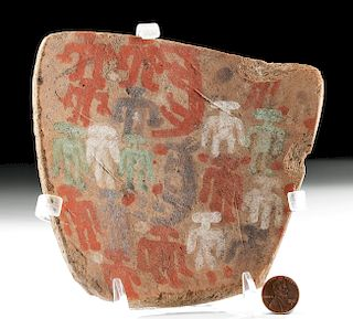Inca Chucu Polychrome Plaque w/ Men & Animals