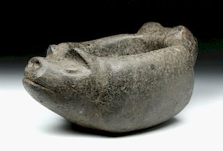 Argentinian Aguada Stone Vessel w/ Pig Heads