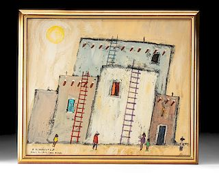 Signed R. Farrington Oil Painting of Taos - 1960s