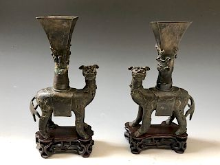 A PAIR OF CHINESE ANTIQUE BRONZE FIGURE, MING DYNASTY