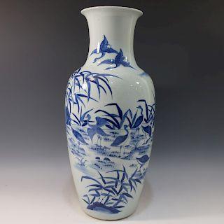 CHINESE ANTIQUE BLUE WHITE VASE - 19TH CENTURY