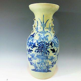 CHINESE ANTIQUE CELADON GROUND BLUE WHITE VASE - 19TH CENTURY
