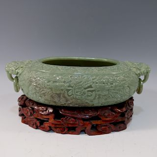 CHINESE ANTIQUE CARVED CELADON JADE BOWL - 18/19TH CENTURY