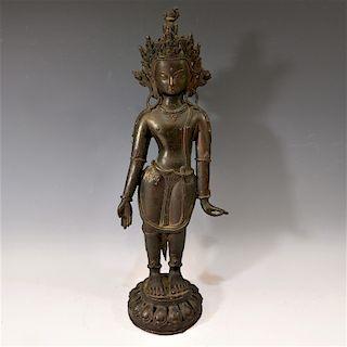 CHINESE TIBETAN ANTIQUE BRONZE BODHISATTVA - 16TH CENTURY