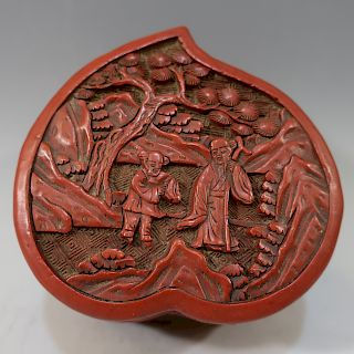 CHINESE ANTIQUE CARVED LACQUER CINNABAR BOX - 18TH CENTURY