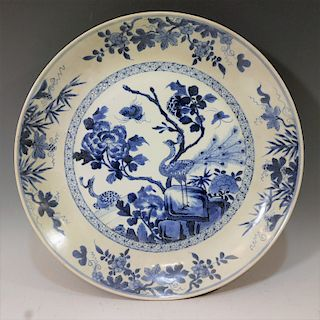 CHINESE ANTIQUE BLUE WHITE CHARGER - 18TH CENTURY