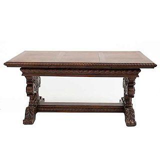 Mesa. Francia. Siglo XX. En talla de madera de roble. Con cubierta rectangular, sistema de extensiones y extensiones. 76 x 155 x 89 cm.
