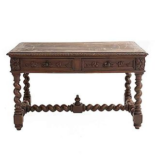 Escritorio. Francia. Siglo XX. En talla de madera de roble. Con cubierta rectangular y 2 cajones con tiradores. 74 x 125 x 70 cm.