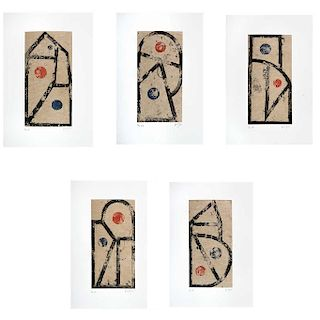 "VICENTE ROJO, Juego de letras (""Letter Play""), Signed, Sugar lift and aquatint P / T 1 / 3, 9.4 x 4.7"" (24 x 12 cm) each, Pieces: 5."