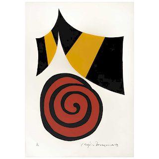 "KOJIN TONEYAMA, Espiral roja y mariposa negra y amarilla (""Red spiral & Black & Yellow Butterfly""), 27.5 x 19.6"" (70 x 50 cm)"