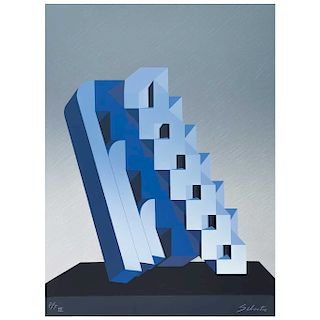 "ENRIQUE CARBAJAL ""SEBASTIAN"", Escalera cósmica (azul) (""Cosmic Staircase (Blue)""), Signed Screenprint P / T III, 29.9 x 22"" (76 x 56 cm)"